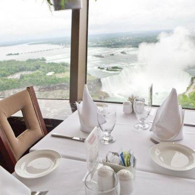 Restaurant window overlooking falls